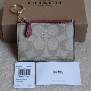 Coach Mini Skinny ID case - Light Khaki/Rouge